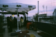 The rooftop bar offers floor seating and hookahs free to guests.
