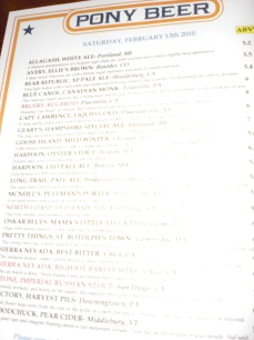 The menu at Pony Bar - changes daily!