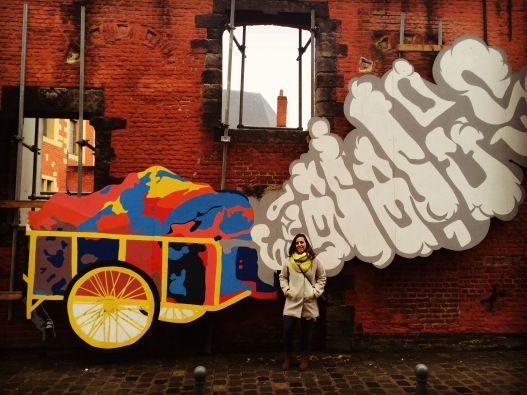 Nicole Vecchio Bryce and street art; Rue de la Monnaie, Lille, France