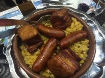 Pork belly & sausage at La Cave aux Fouées.
