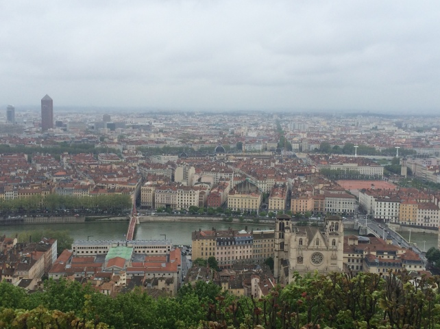 View of Lyon city from Basilique Notre-Dame de Fourvière