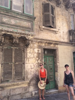 Sophie and Penny on the streets of Valetta