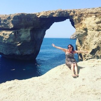 Lisa Vecchio at Azure Window, Gozo