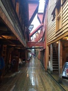 Wooden beams of historic Bryggen