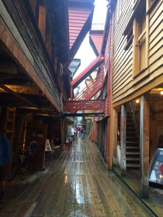 Wooden beams of historic Bryggen