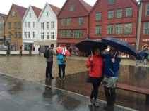 Jaime & Lisa in the rain; Bryggen, Bergen