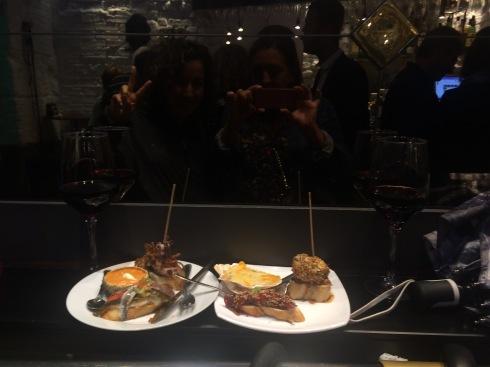 Nidya and Lisa selfie at Pintxos bar on Ledesma Musikariaren Kalea