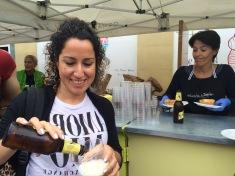 Nidya pouring local Basque beer, Keller