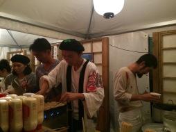 Preparing takoyaki at Cinema Caravan, San Sebastian