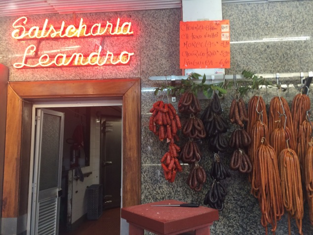 Salsicharia Leandro (sausage factory) in Mercado Bolhao, Porto