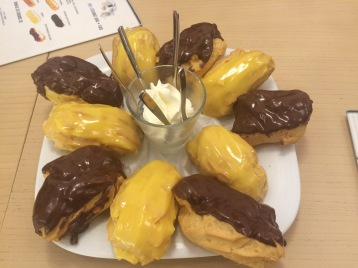 Lemon and chocolate eclairs at Leitaria Da Quinta Do Paco.