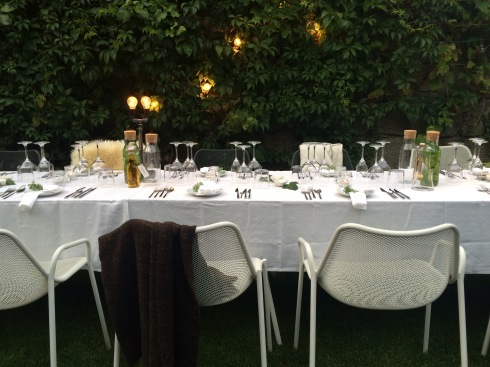 The table setting of Secret Garden Supper Club at Rosa Et Al