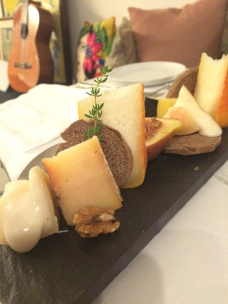 Traditional Portuguese Cheese Boards; Black Mission Figs, Walnuts, Wild Flowers Honey and Cinnamon Bread Toasts at Secret Garden Dinner Club