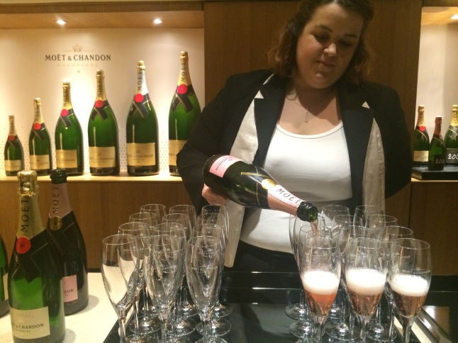 Pouring bubbles at Moet & Chandon