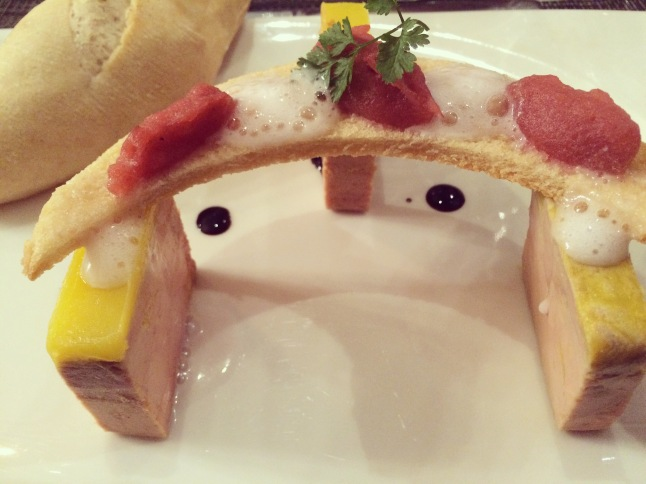 Fois gras served in a smile at La Table Kobus, Epernay