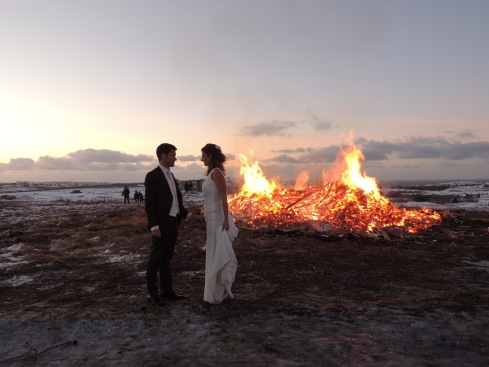 Wedding photo NYE bonfire Reykjavik