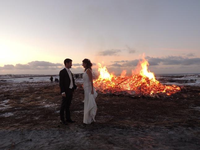 Wedding photo NYE bonfire Reykjavik