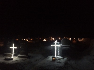 Illuminated crosses at Vik cemetery