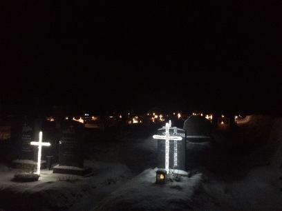 Illuminated crosses at Vik cemetery