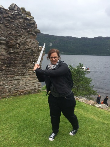 Anna sword wielding at Urquhart Castle