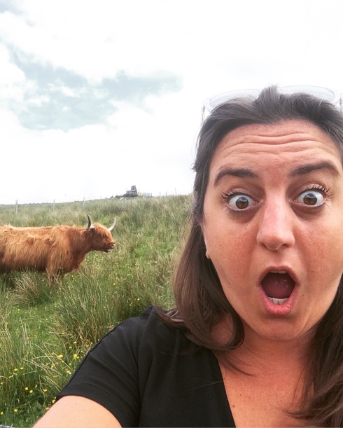 Lisa meets a long haired Scottish cow