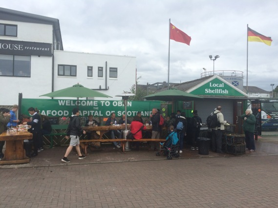 Green seafood stall, Oban