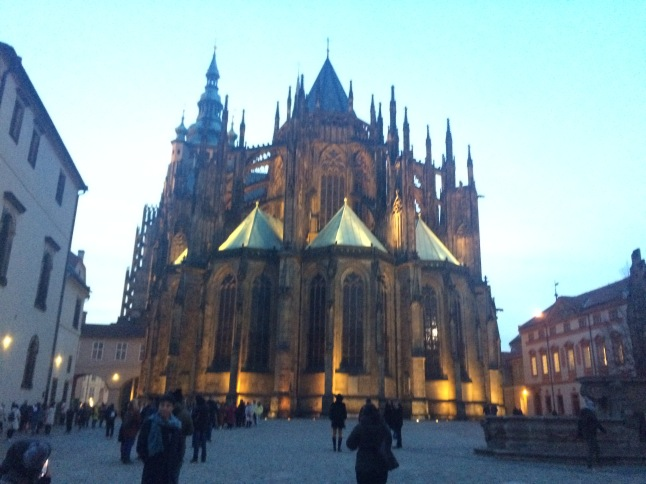 Prague Castle grounds by night
