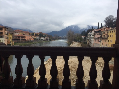 View of the Alps from Ponte Vecchio in Bassano del Grappa