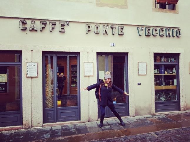 Lisa Vecchio in front of Cafe Ponte Vecchio in Bassano del Grappa