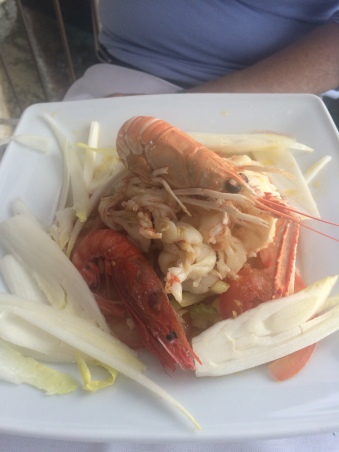 Scampi salad at Restaurante Belforte, Vernazza