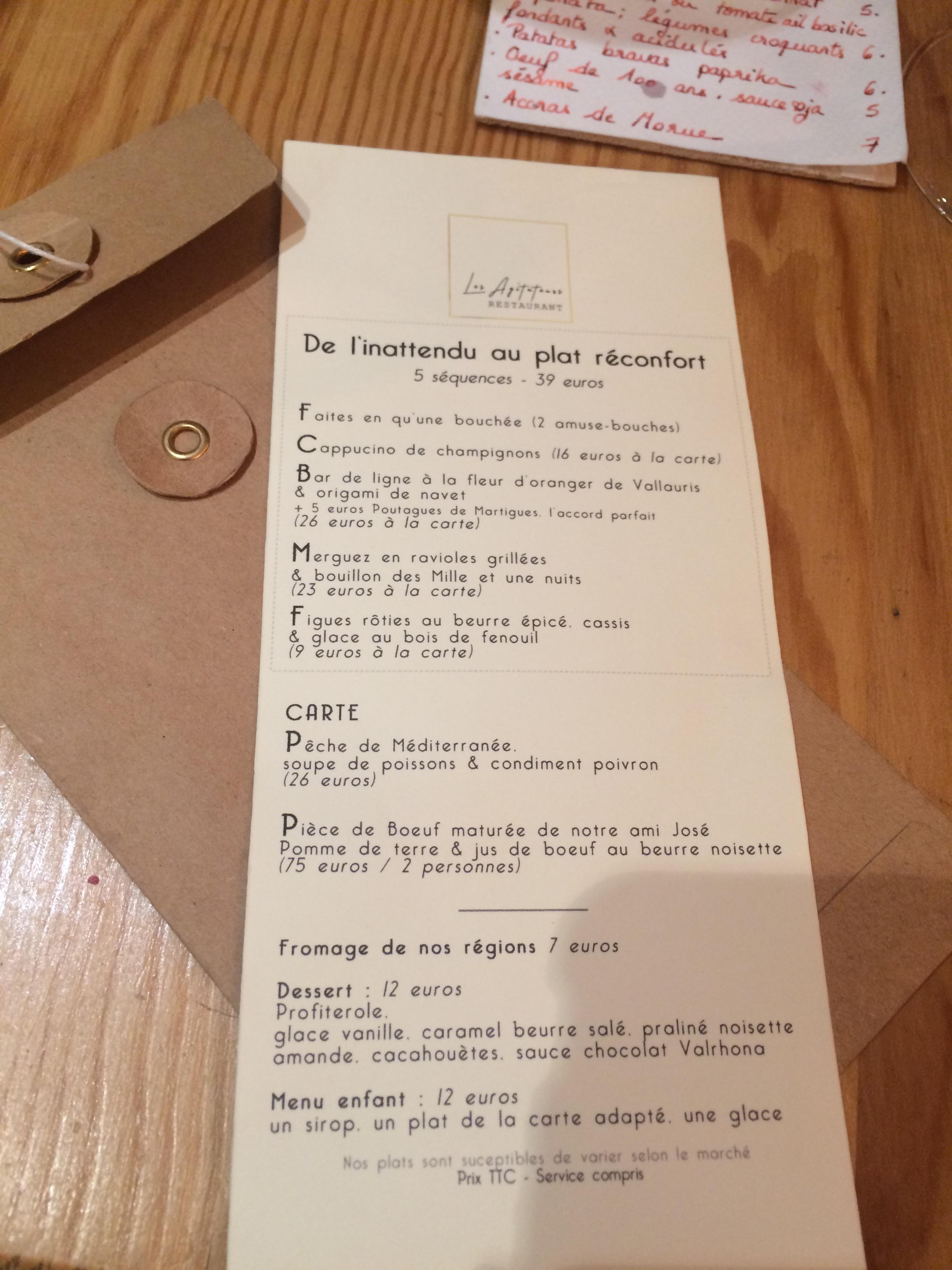 Tasting menu at Les Agitateurs,
