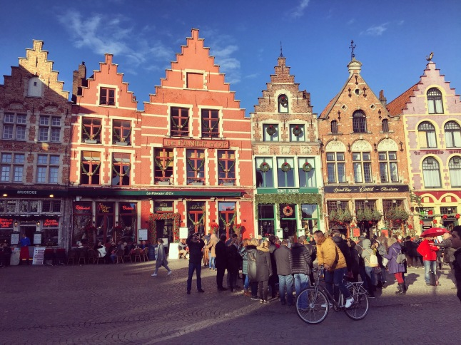 Colourful guild house, Bruges market square