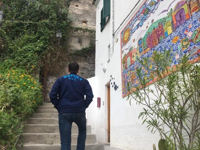 Climbing the steps of Positano