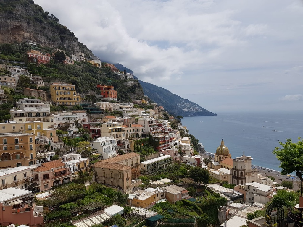 View looking down at Positano