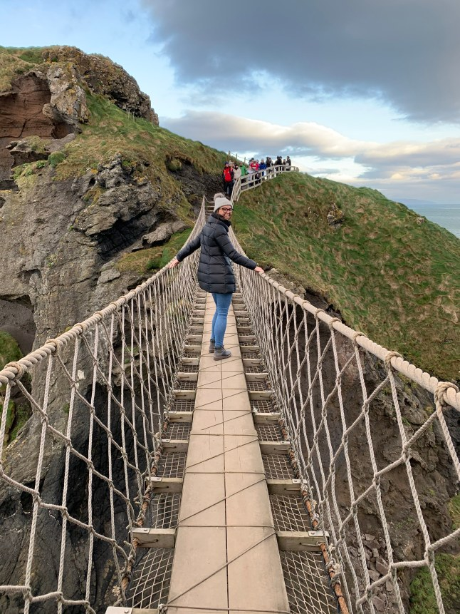 Hannah on Carrick-a-Rede Rope Bridge